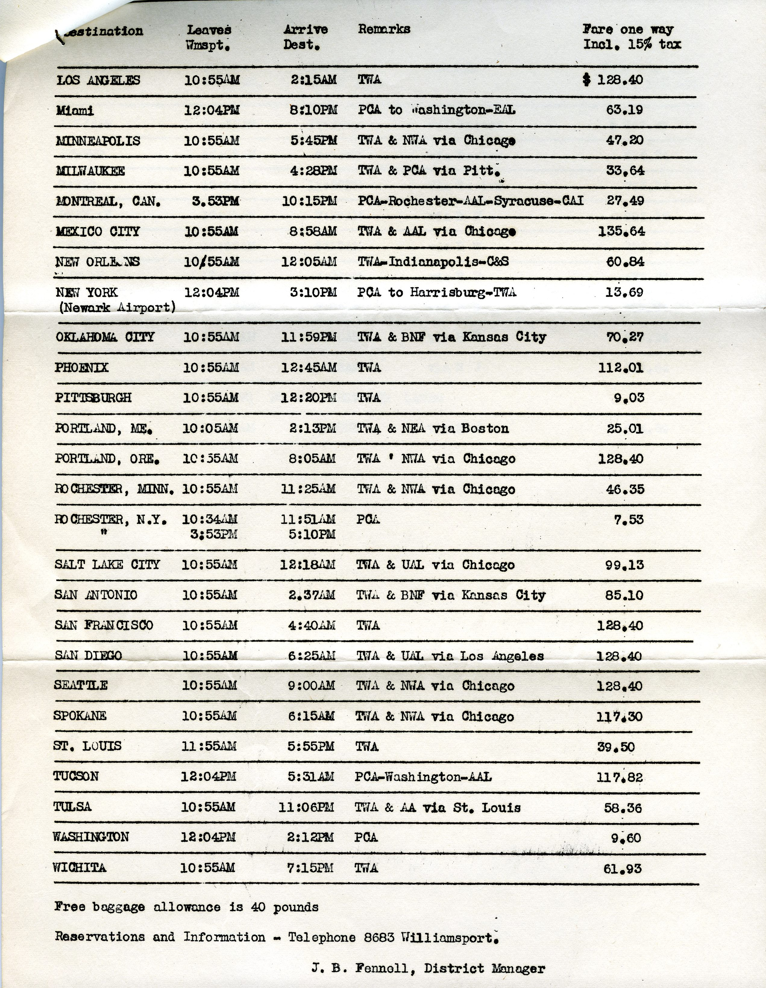 KIPT Airport schedule
